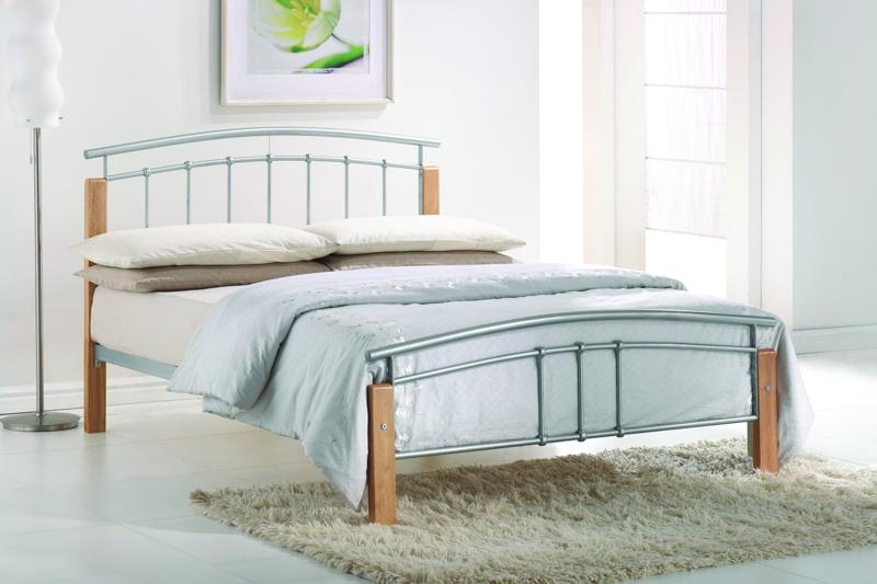 TIME LIVING Tetras Silver and Beech Bed Frame from £119