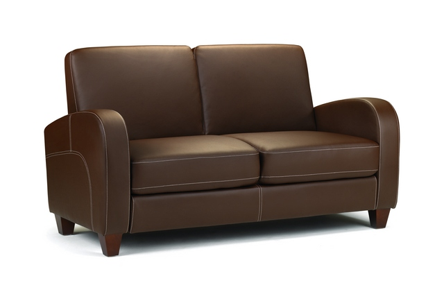 Julian Bowen Vivo 2 Seater Sofa in Chestnut Brown Faux Leather £249