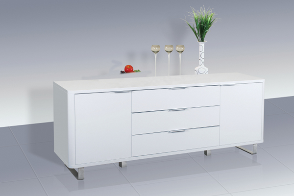 Accent White High Gloss Sideboard With 2 Doors and 3 Drawers