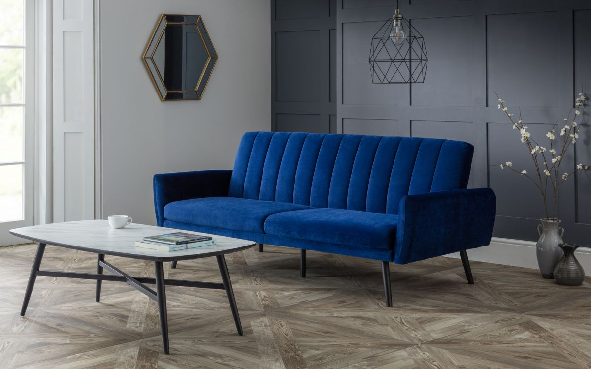 Afina Sofa Bed in Blue Velvet £299 by Julian Bowen
