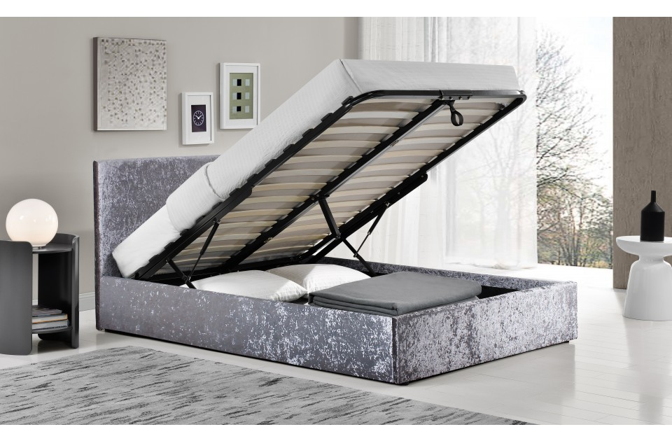 Birlea Berlin Fabric Ottoman Bed Frame in Steel Crushed Velvet from £229