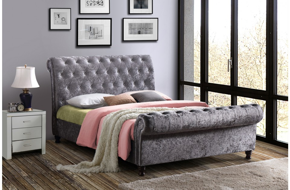 Birlea Castello Fabric Bed Frame in Steel Crushed Velvet from £449
