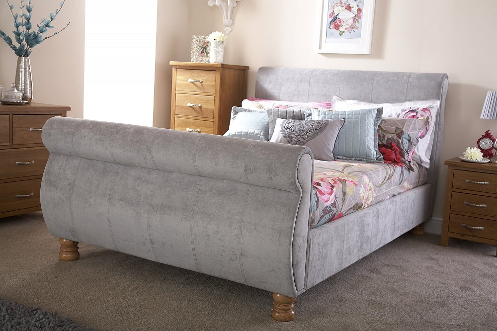 GFW Chicago Silver Chenille Fabric Sleigh Bedstead from £319
