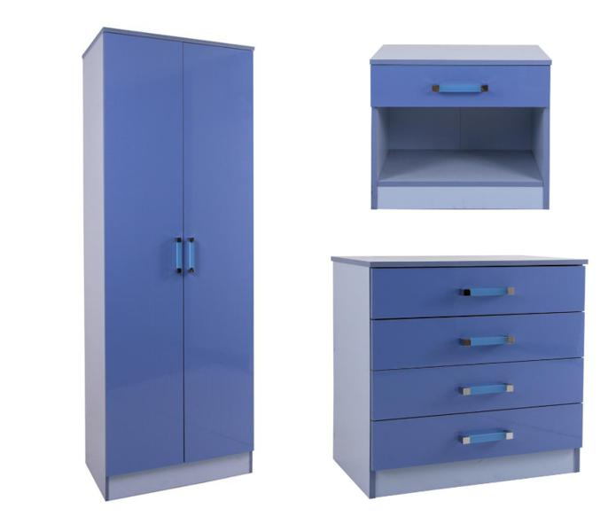 GFW OTTAWA 2 TONES HIGH GLOSS WARDROBE  CHEST AND BEDSIDE IN BLUE