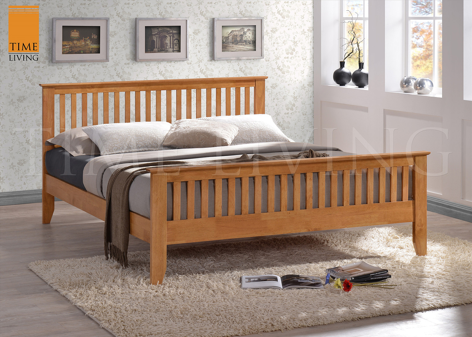 Turin Honey Oak 4ft6 Double Bed Frame 163 225 Beds Direct