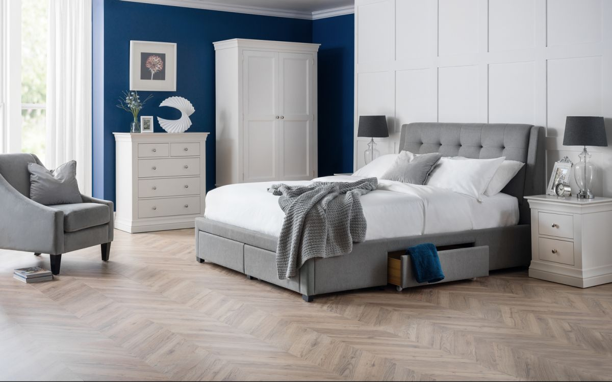Julian Bowen Fullerton 4 Drawer Bed in Grey Linen from £399