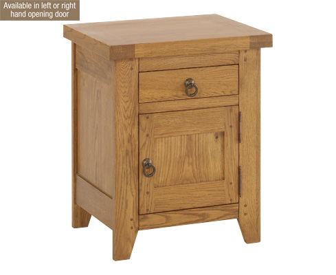 Solid Oak 1 Drawer Bedside Cabinet