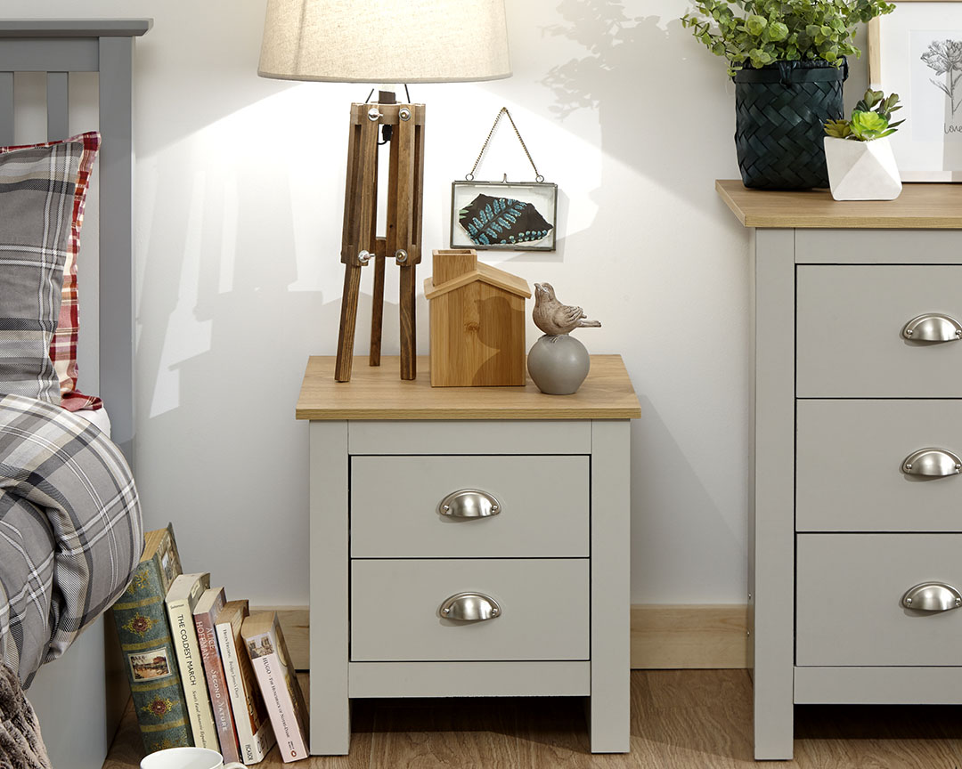 Lancaster 2 Drawer Bedside in grey £49