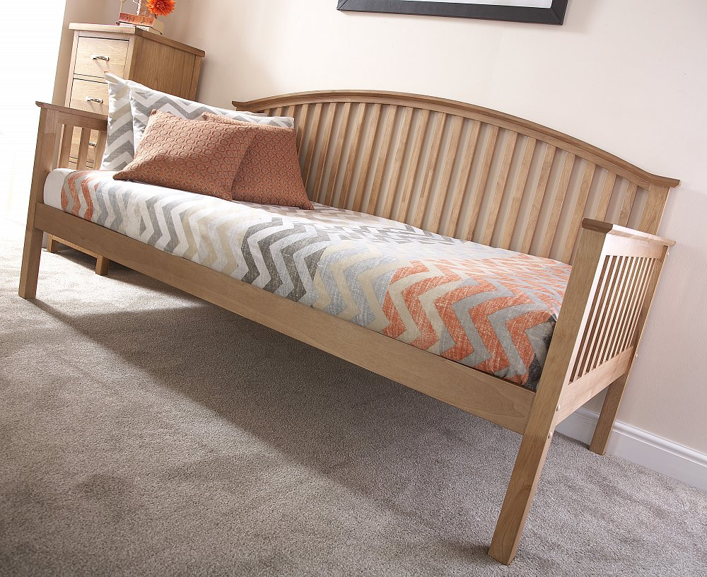 GFW Furniture Madrid Wooden Day Bed and Trundle option in Natural Oak Finish