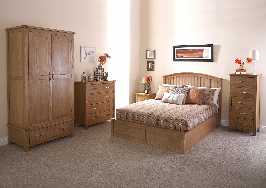 GFW Madrid Wooden Ottoman Bed Frame in Oak