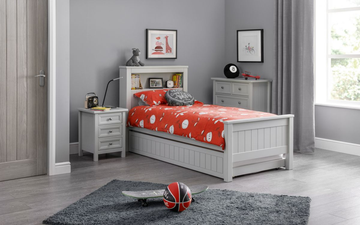 Maine Bookcase Bed in Dove Grey with Underbed Option £199