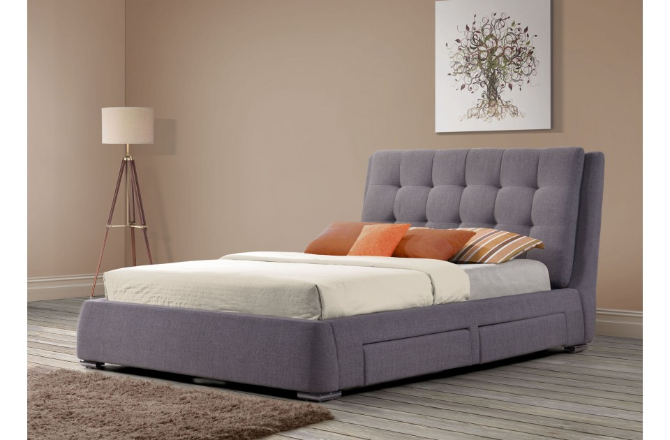 Birlea Mayfair Fabric Four Drawer Storage Bed Frame in Grey from £479