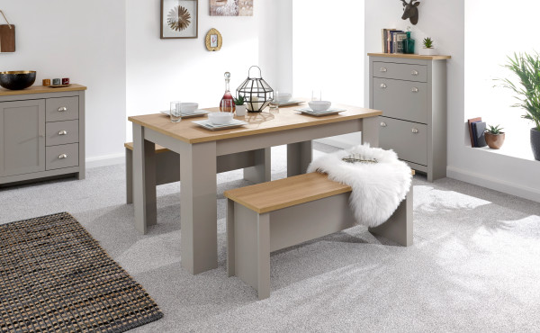Lancaster Dining Table & Benches in Grey  from £199
