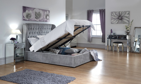 GFW Dakota Winged Ottoman Storage Bed Frame in Platinum from £399