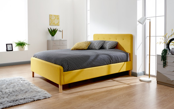 GFW Ashbourne Mustard Yellow Fabric Bed Frame from £139