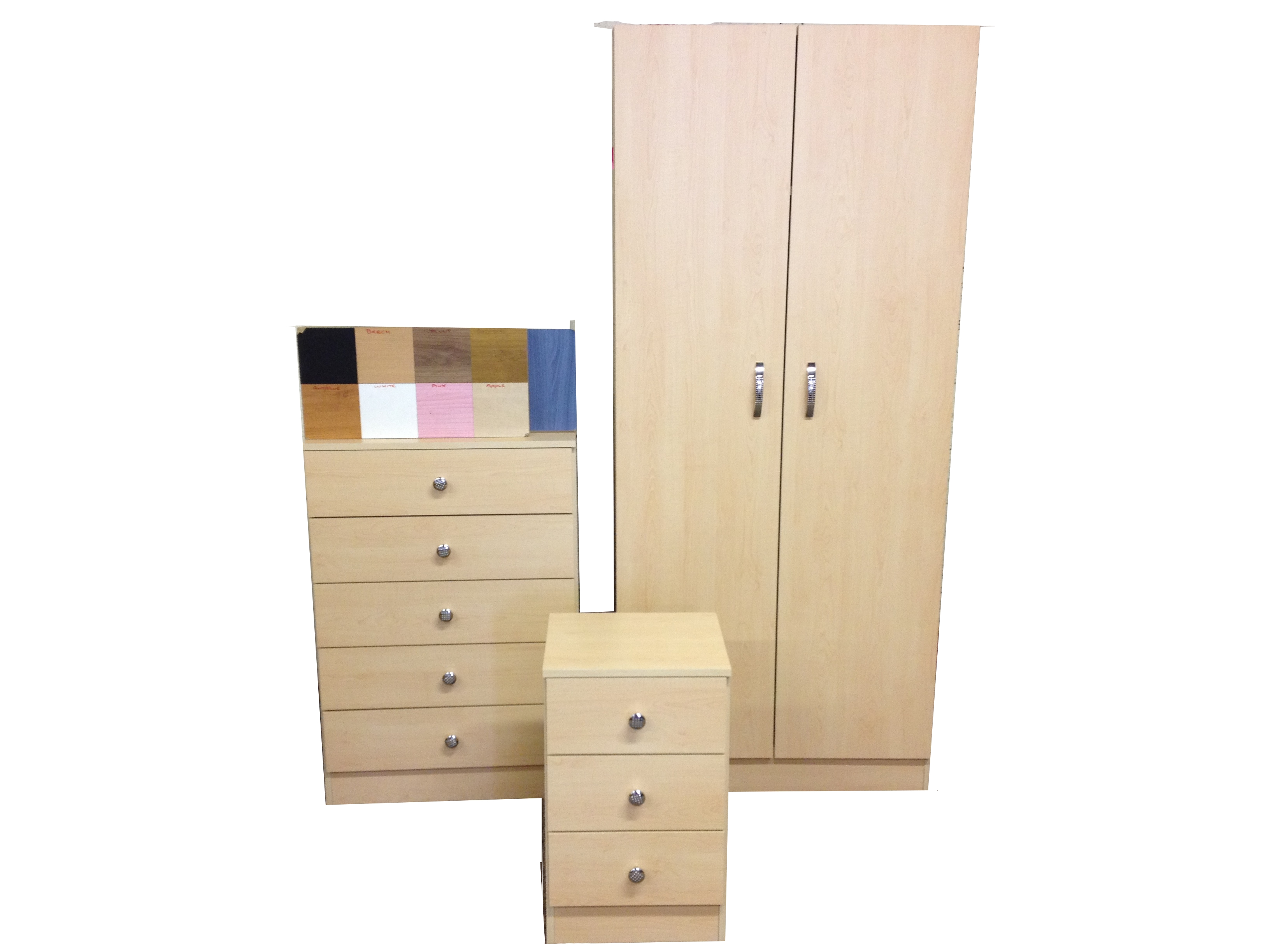 PRE BUILT WARDROBE, CHEST AND BEDSIDE, CHOICE OF COLOURS, ONLY £199