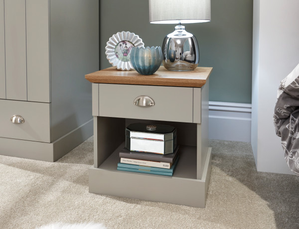 Kendal 1 Drawer Bedside Table in Grey from £59