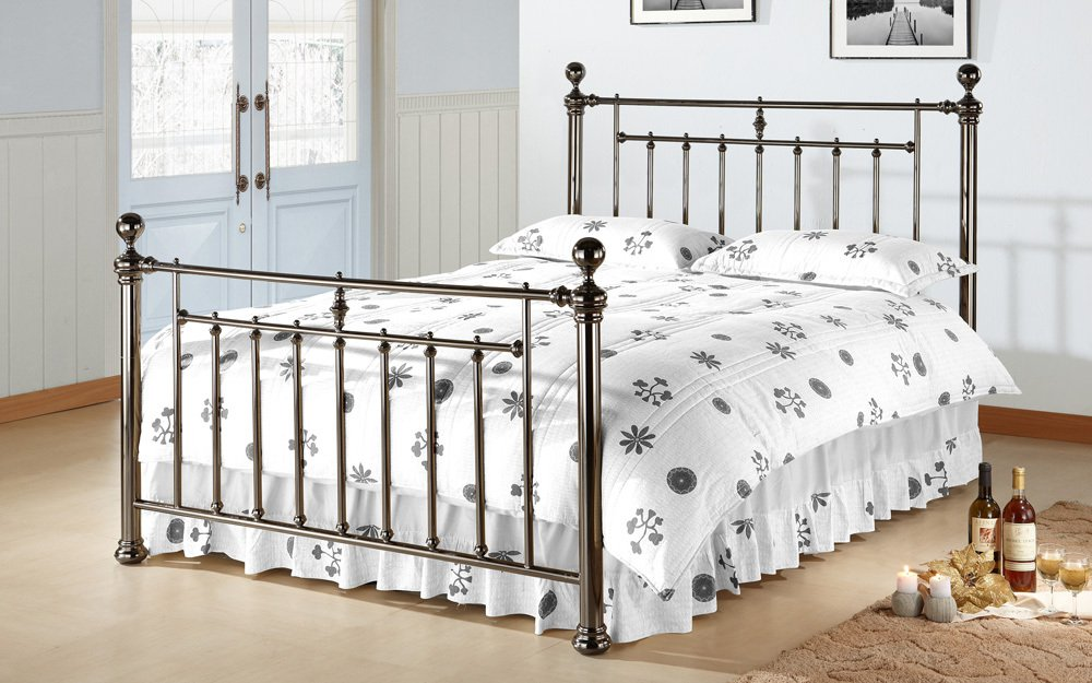 Alexander Metal Bed Frame in Black Nickel or chrome by Time Living from £359