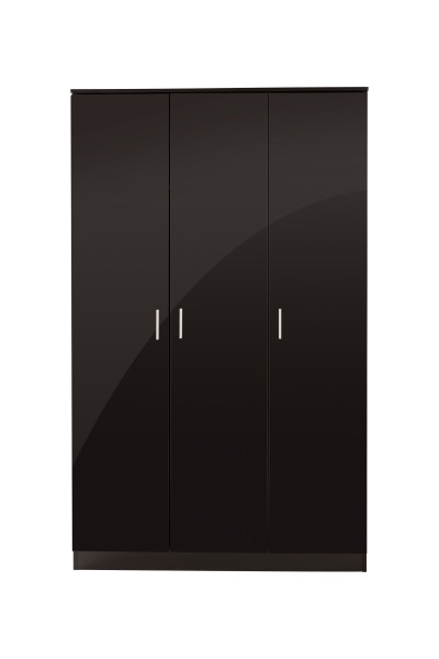 GFW Ottawa 3 Door Wardrobe in Black High Gloss £199