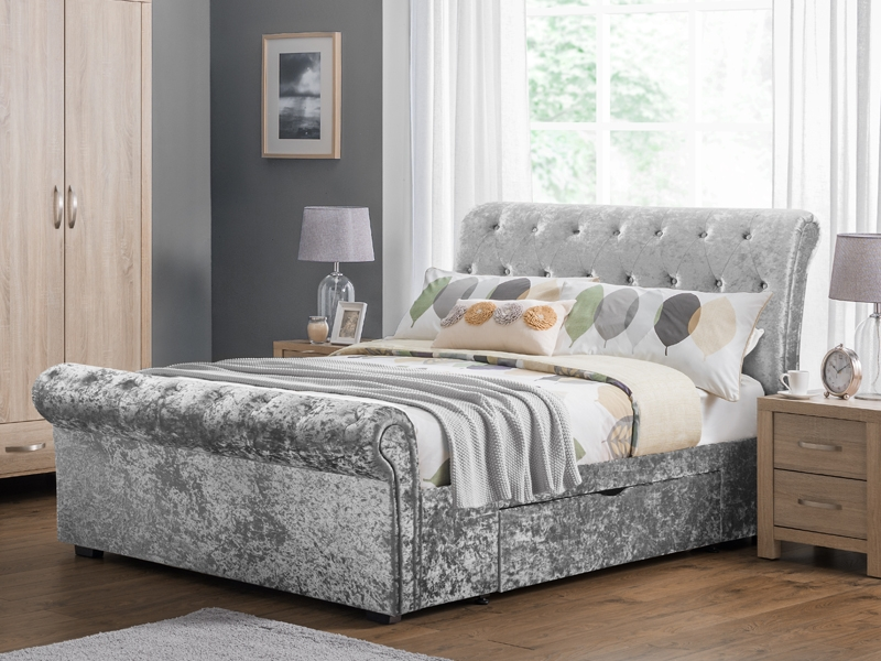 Verona Silver Crushed Velvet 2 Drawer Storage  Sleigh Bed Frame £399