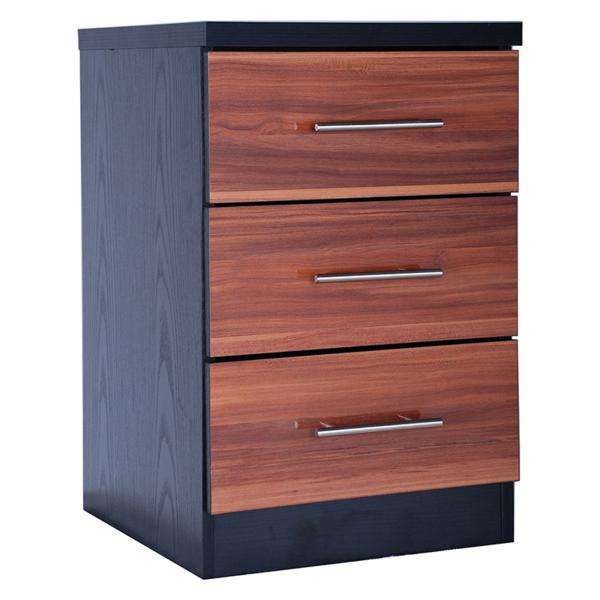 GFW WYOMING 3 Drawer Bedside in Walnut and Black High Gloss